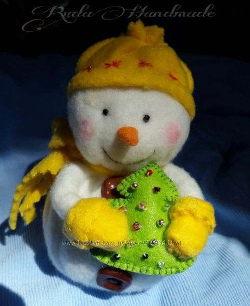 Игрушка мягкая. Снеговик. Новогодние игрушки.
