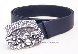 Мужской кожаный ремень Harley Davidson синий