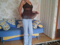 Нарядные коричневый, белый, голубой  топик S Vera Moda