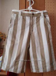 Джинсовые шорты в полоску 110-116см котон