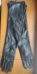 новые кожаные утепленные длинные женские перчатки