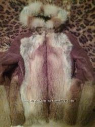 Куртка кожаная лиса очень теплая SM
