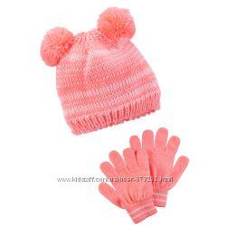 Шапки и перчатки варежки Краги Carters для девочек Ч3
