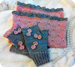 Снуд и митенки серо-розовые Бантики