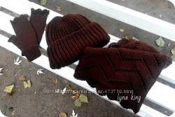 Шоколадынй комплект шапка стиле Tak. Ori, снуд и митенки