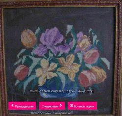 Картина Ваза с цветами ручная вышивка. 1961-й год