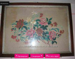 Картина Цветы ручная вышивка
