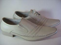 Туфли мужские светлые натур. кожа р. 45 мод. 102-103