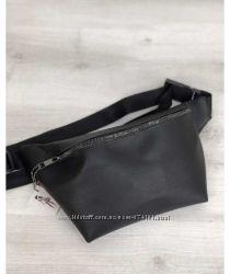 Женская сумка Бананка черного цвета никель