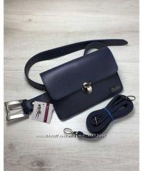 Женская сумка на пояс- клатч Арья синего цвета