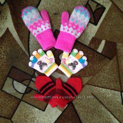 Детские варежки и перчатки на девочку 2-6 лет.