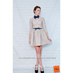 Пышное платье в цвете беж с ремешком распродажа