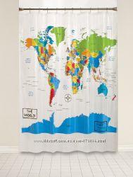 Прозрачная шторка для ванной 177на182см из США. Карта мира