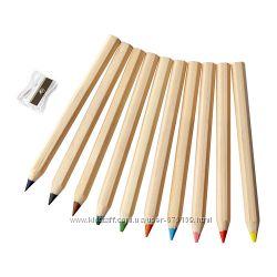 Цветные карандаши ТМ Икеа 10 шт.