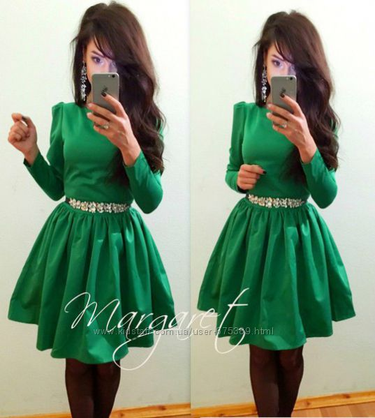 Зеленые платье с поясом