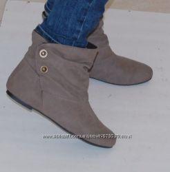 Ботинки бежевые осенние 38 р-р 24 см внутри флис
