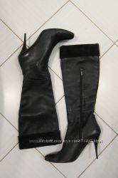Женские кожаные сапоги на шпильке черные 40 Elche