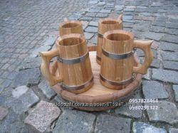 Кружка дубовая для напитков. Пивной набор из дуба. Для бани.