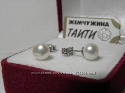 Серьги. Украинское заводское серебро, натуральный пресноводный белый жемчуг