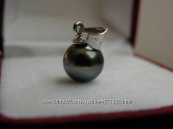 Кулон, натуральный чёрный жемчуг Таити, заводское серебро 875 пробы