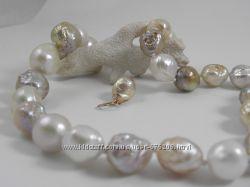 Ожерелье, очень крупный 12-16 мм, радужный жемчуг Касуми