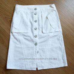 Белая хлопковая летняя юбка М