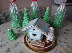 Новогодний домик из имбирного, медового пряника, печенья