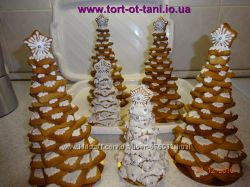 На заказ новогодние елочки из имбирного, медового пряника.