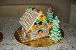 Новогодний, рождественский  домик-сувенир из имбирного, медового пряника