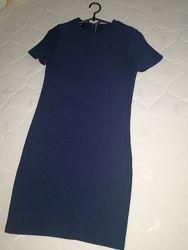 Платье Oodji, S-M, синее, офис