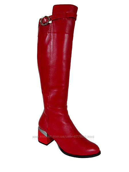 84. акция, сапоги европейка из натуральной кожи, в красном цвете, к1814