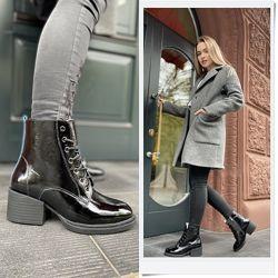 Лаковые зимние ботинки на каблуке с шнуровкой, ботинки лаковая кожа зима