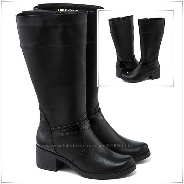 Универсальные кожаные высокие сапоги на устойчивом каблуке