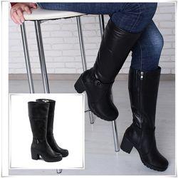 Удобные высокие кожаные зимние сапоги на каблуке, сапоги кожа зима
