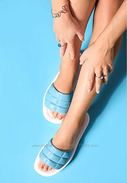 Хит Легкие кожаные женские шлепанцы из стеганной кожи, голубые шлепки кожа