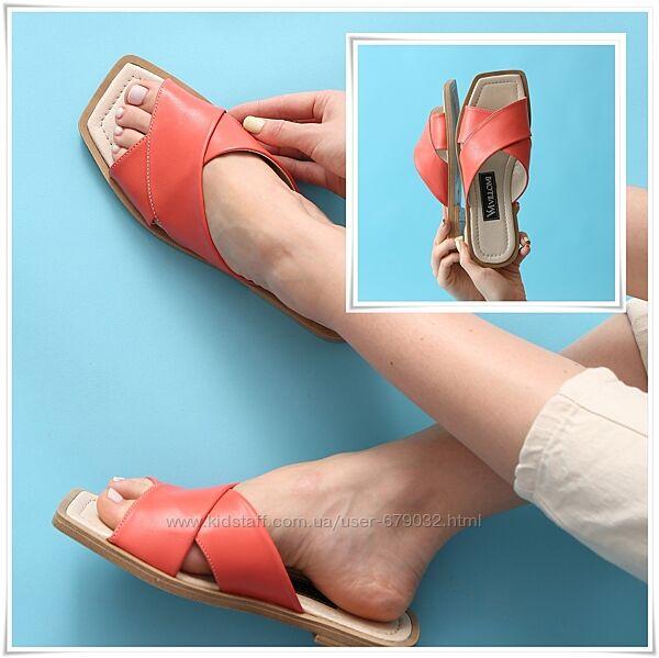 Женские кожаные шлепанцы переплет квадратный носок, шлёпки из кожи