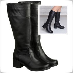 Высокие кожаные зимние сапоги на низком каблуке, сапоги кожа зима каблук