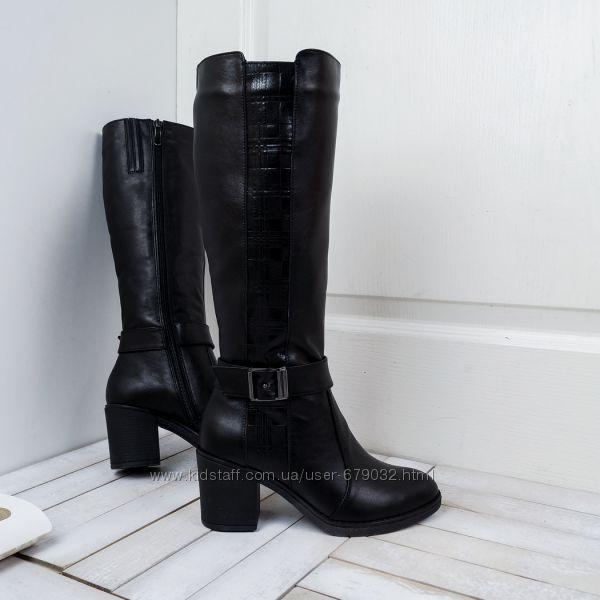 Модельные кожаные зимние сапоги на каблуке, сапоги кожа зима