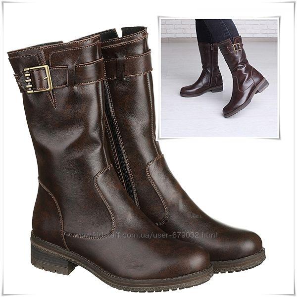 Модные кожаные зимние полусапожки на низком каблуке, полусапоги кожа зима