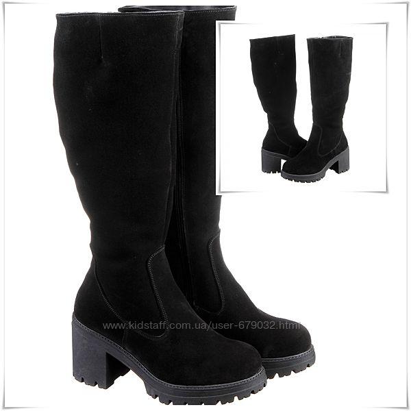 Замшевые зимние сапоги на каблуке и платформе, сапоги замша зима