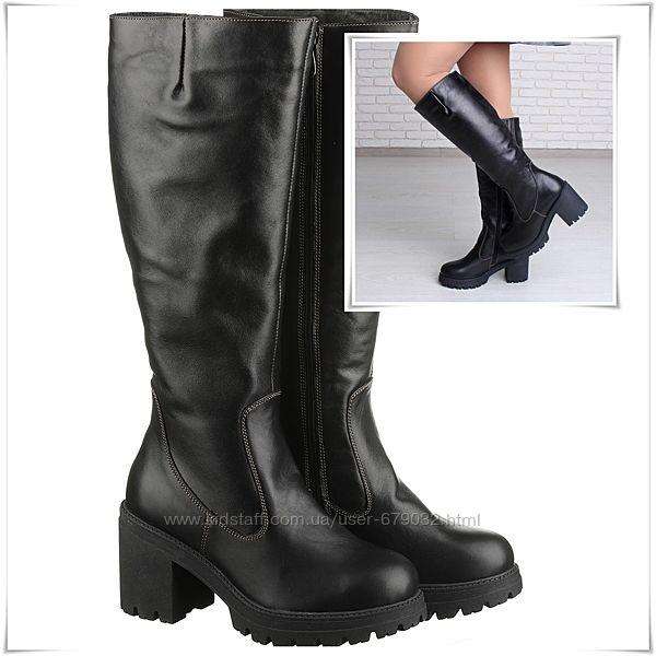 Удобные зимние сапоги кожаные на каблуке и платформе, сапоги кожа зима