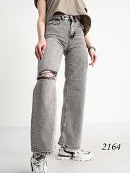 Модные серые расклешенные джинсы палаццо, джинсы женские клеш