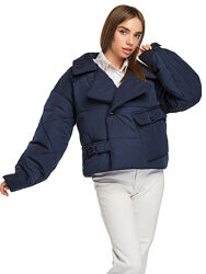 Стильная демисезонная короткая женская куртка в стиле оверсайз