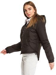 Женская черная  короткая деми куртка с ассиметричным низом и капюшоном