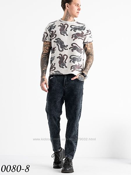 Стильный мужской МОМ, джинсы мужские темно серые приуженные