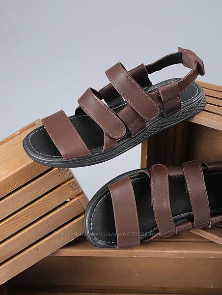 Кожаные мужские сандали на пряжках, летние мужские босоножки кожа
