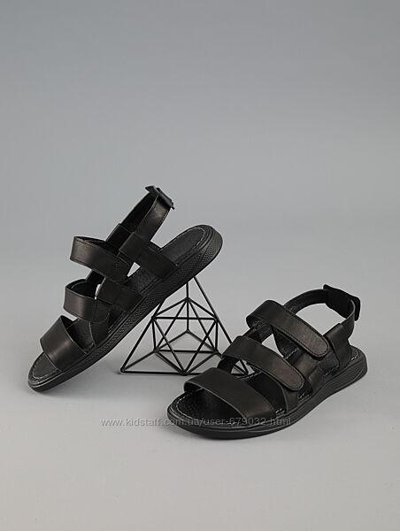 Черные  кожаные мужские сандали на пряжках, летние мужские босоножки кожа