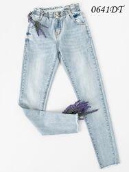 Голубые джинсы багги на резинке, джинсы женские с высокой посадкой