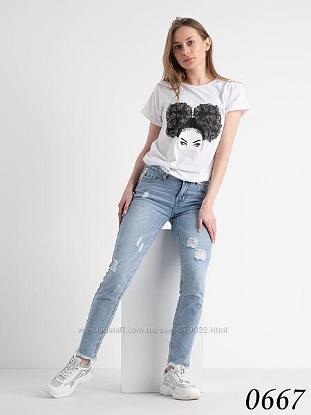 Стильный голубой летний МОМ рванка, джинсы женские момы высокая посадка