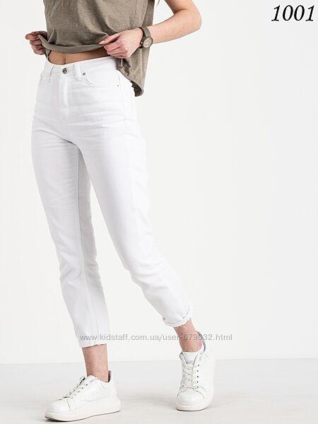 Белый котоновый МОМ, джинсы Момы с высокой посадкой